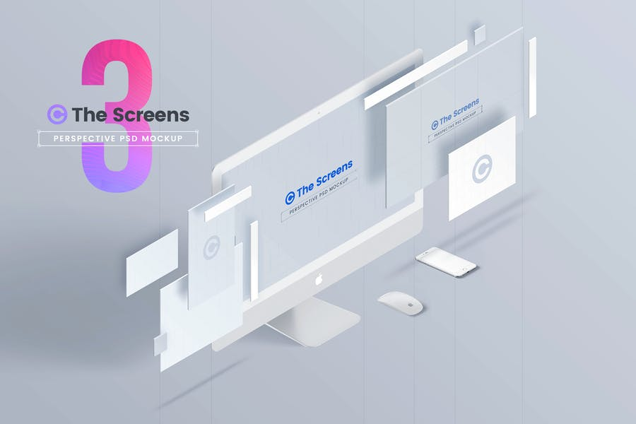 The Screens - Perspective PSD Mockup Template