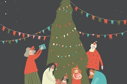 Frohe Familie Weihnachten feiern. Freudige Emotionen.