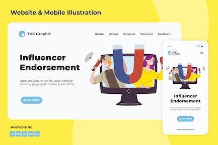 Influencer Endorsement web and mobile
