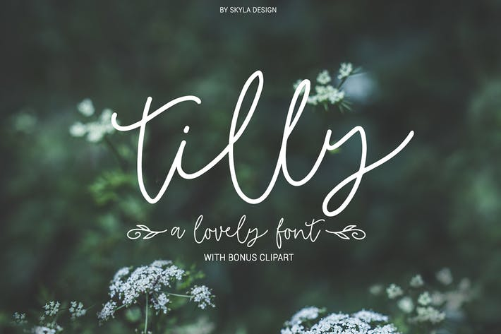 Thumbnail for Tilly, a lovely font & bonus clipart