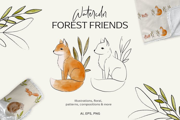 Watercolor forest friends