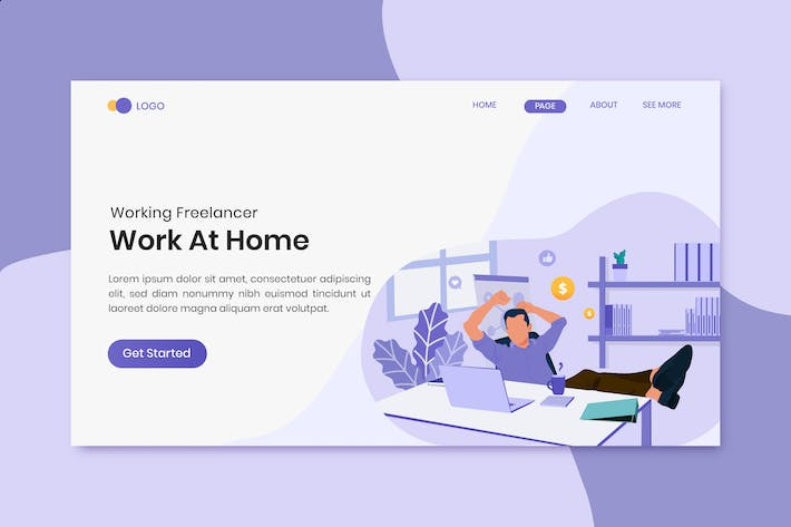 Thumbnail for Freelance Job Work at home concept on landing page