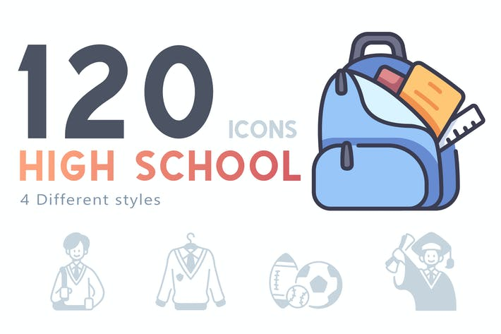 Thumbnail for 120 High school icons set