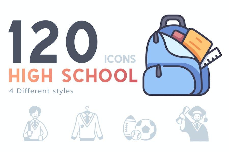 120 High school icons set