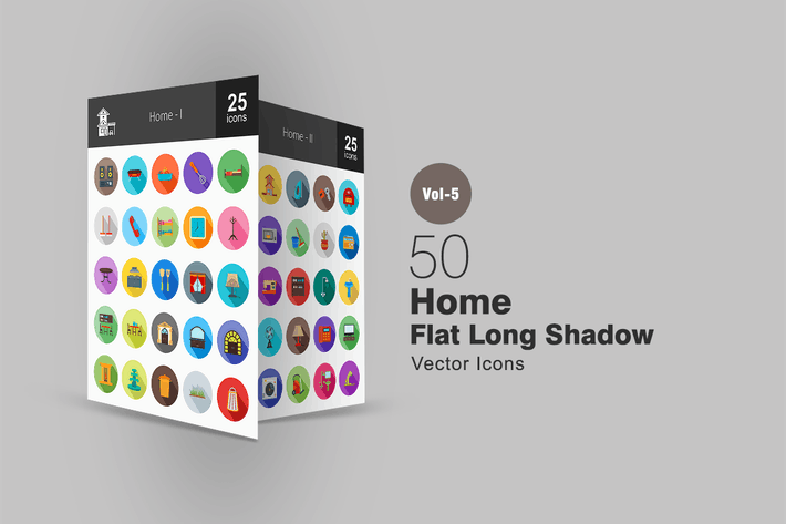 Thumbnail for 50 Home Flat Shadowed Icons