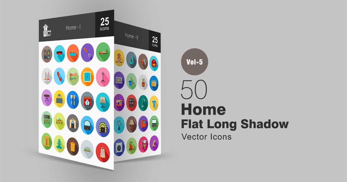 50 Home Flat Shadowed Icons by IconBunny