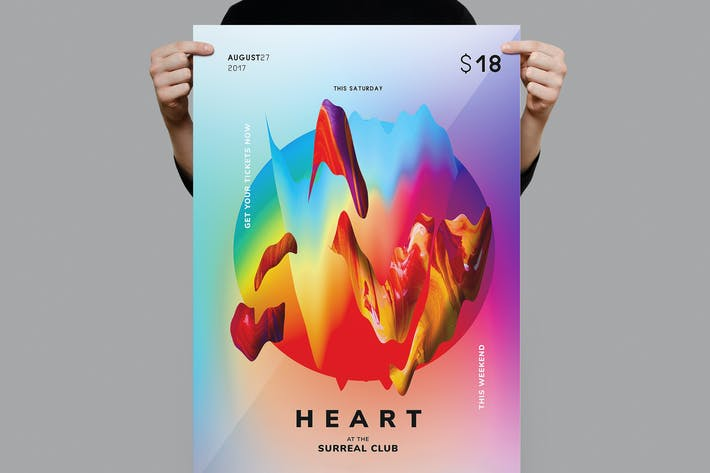 Cover Image For Heart Flyer / Poster Template