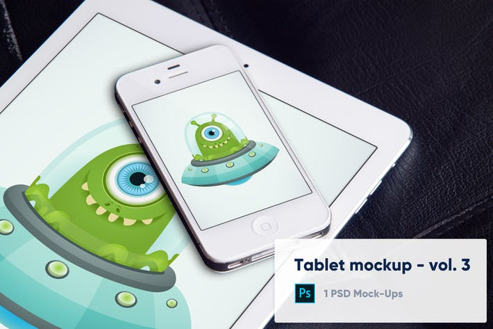Thumbnail for Tablet Mockup on Black Leather Background - Vol. 3