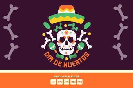 Dia De Muertos skull illustration