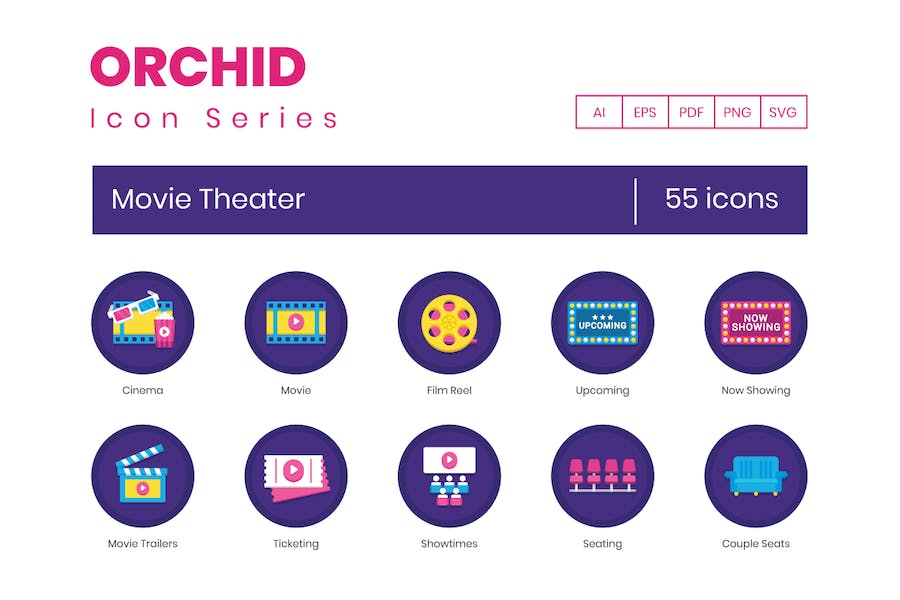 55 Movie Theater Flat Icons
