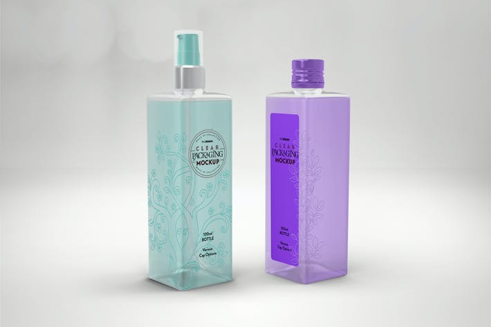Thumbnail for Clear 100ml Square PET Bottles Packaging Mockup