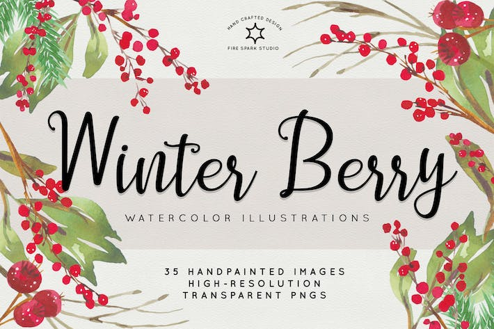 Thumbnail for Winter Berry Watercolor Illustrations