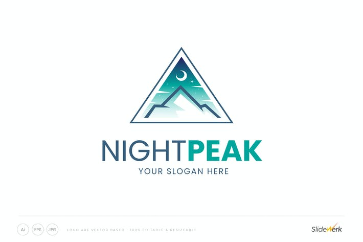 Crescent Moon Mountain Peak Logo Templates