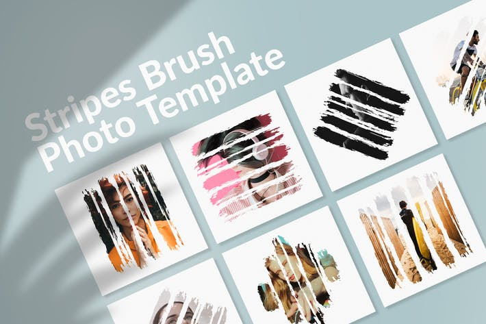 Thumbnail for Stripes Brush Photo Templates