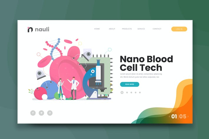 Thumbnail for Nano Blood Cell Tech Web PSD and AI Vector Templat