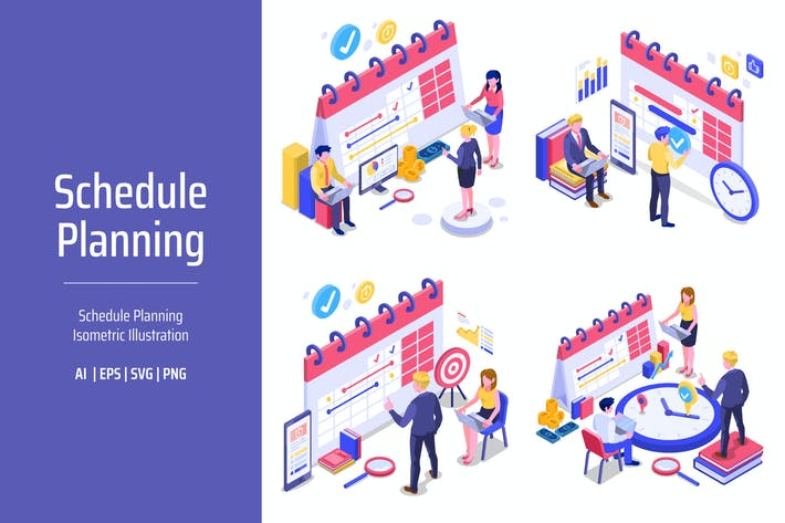 Thumbnail for Schedule Planning Isometric Illustration
