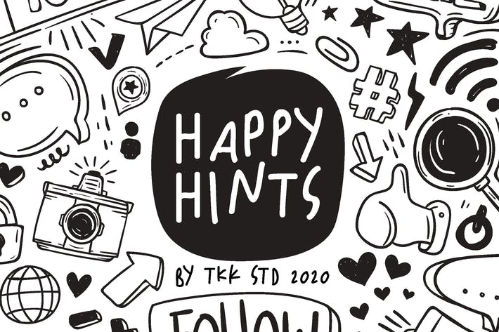 Happy Hints - kids doodle handwriting font