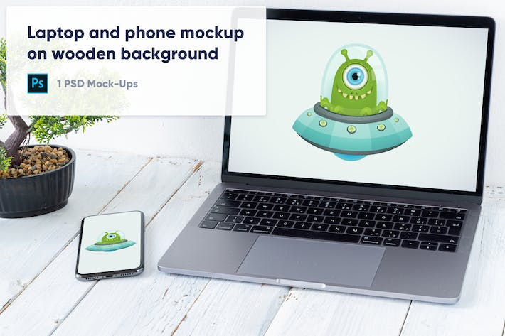Thumbnail for Laptop, Phone and Bonsai on Wooden Background PSD
