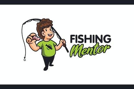 Cartoon Funny Angler Character Mascot Logo
