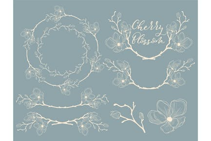 White Hand Drawn Cherry Blossom Arrangements.