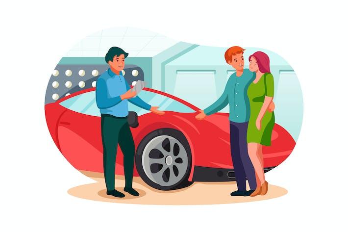 Verkäufer zeigt ihnen Luxus-Auto in Autohändler