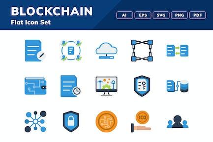 Blockchain Flat Icon Set