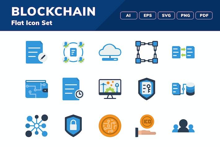 Набор значков блокчейн