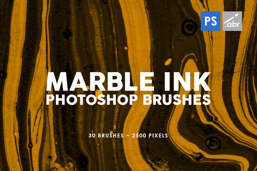 30 Marble Ink Photoshop Brushes Vol. 2