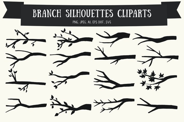 Thumbnail for 20 Branch Silhouettes Handmade Cliparts