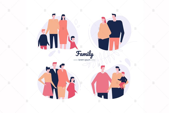 Thumbnail for Family - flat design style vector characters set