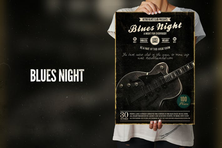 Thumbnail for Blues Night Event Flyer Poster