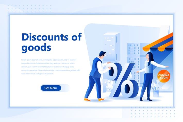 Thumbnail for Discounts Goods Flat Landing Page Header