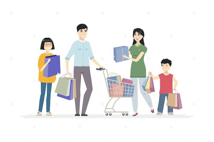 Thumbnail for Chinese family doing shopping - illustration