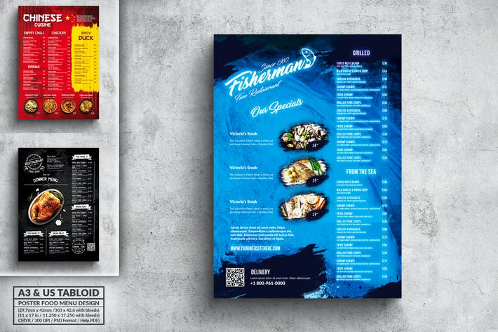 Thumbnail for Vintage Poster Food Menu Bundle - A3 & US Tabloid