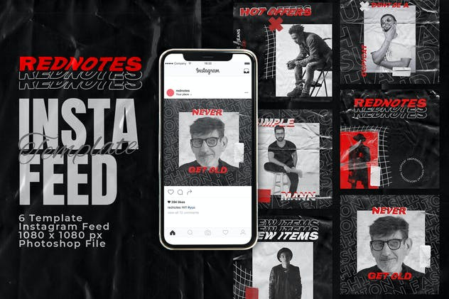 Rednotes Instagram Feed Post Template - product preview 0