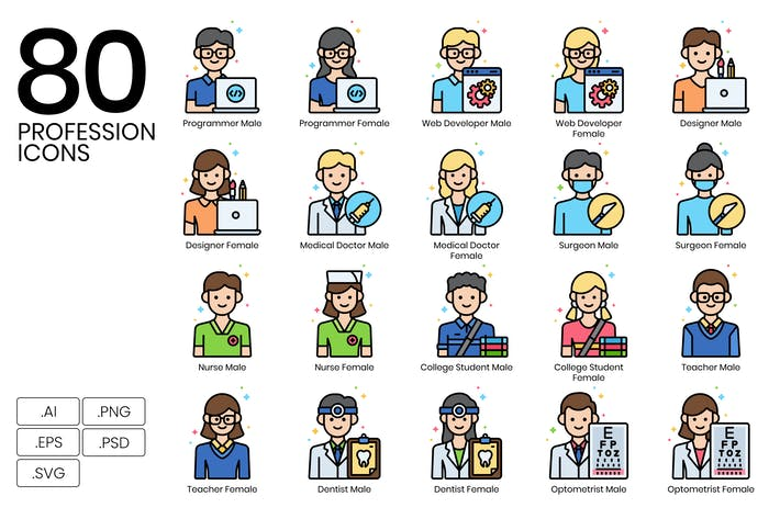 Thumbnail for 80 Professions Line Icons