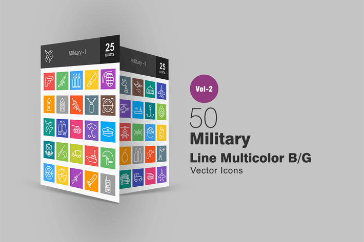 50 Military Line Multicolor Icons