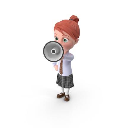 Cartoon Girl Grace with Loud Speaker