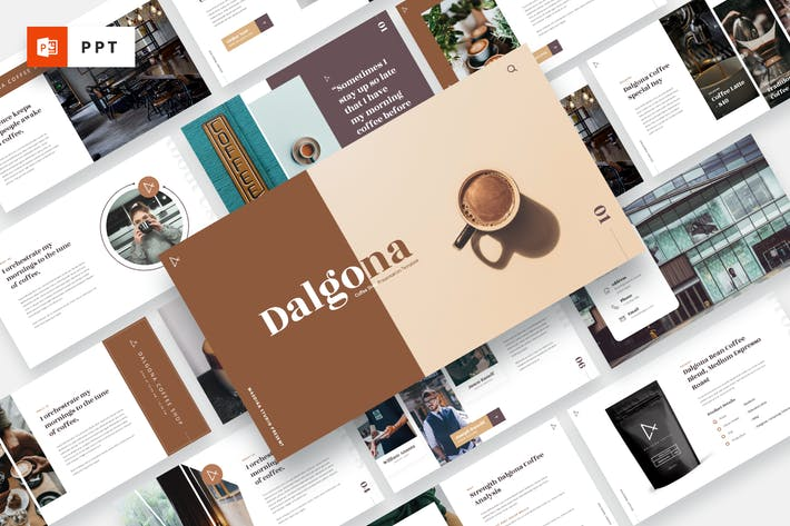 Thumbnail for DALGONA - Кофейня & кафе Powerpoint Шаблон