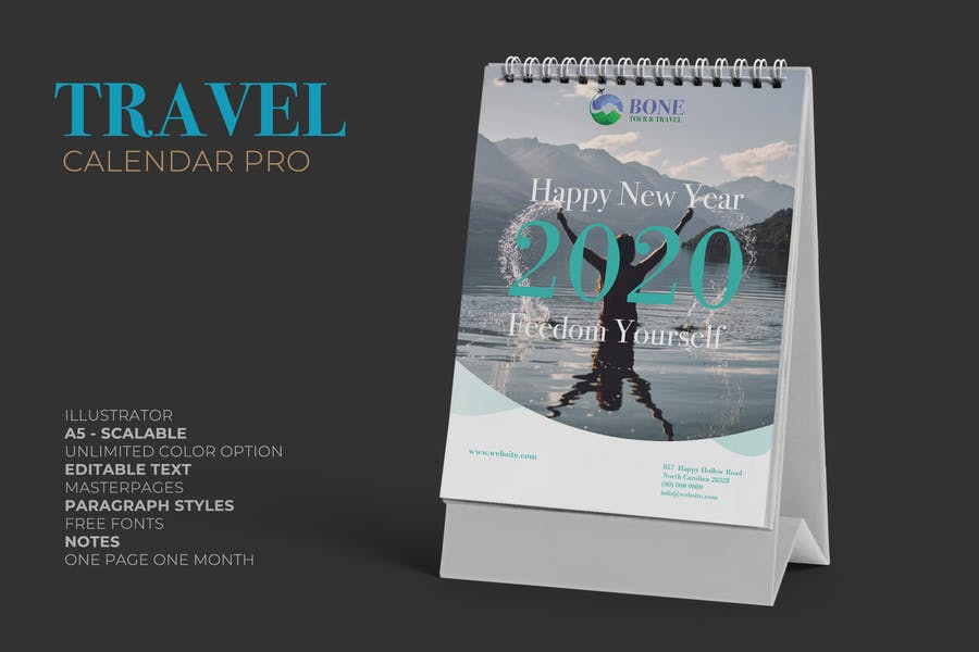 2020 Clean Travel Calender Pro