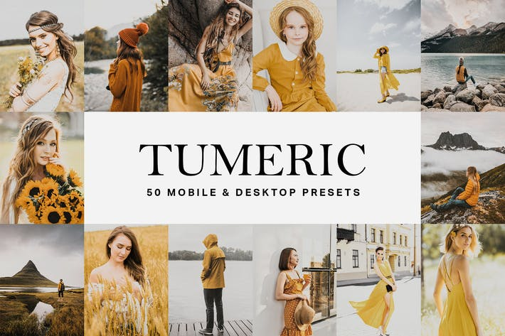 Thumbnail for 50 Tumeric Yellow Lightroom Presets and LUTs