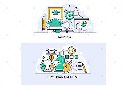 Schulungs- und Zeitmanagement-Banner Set