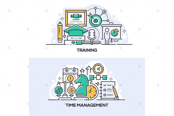 Thumbnail for Training and time management banners set