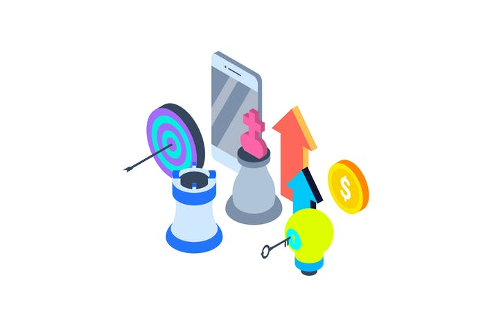 Thumbnail for Mobile Marketing Isometric Illustration