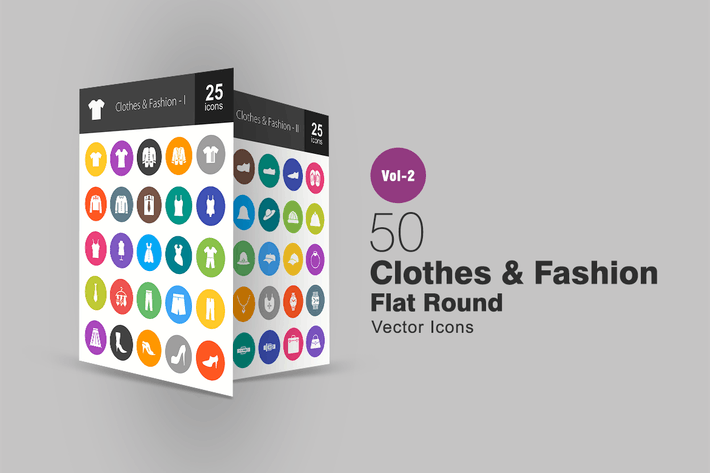 Thumbnail for 50 Clothes & Fashion Flat Round Icons