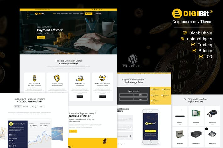 Thumbnail for DigiBit - Cryptocurrency Mining WordPress Theme