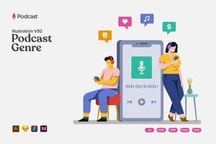 Podcast-Illustration - beliebte Genre und Themen