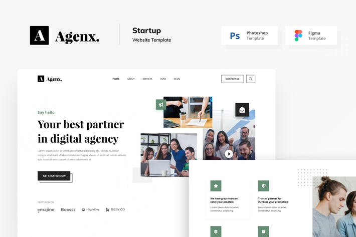 Thumbnail for Agenx Startup Website Figma PSD Template