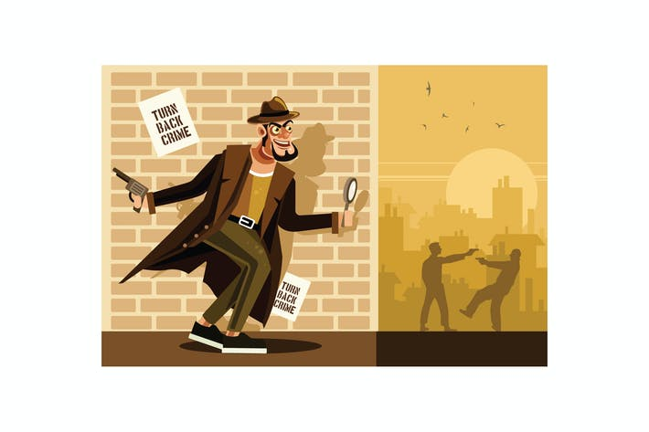 Thumbnail for Detective Character Vector Graphics Illustration