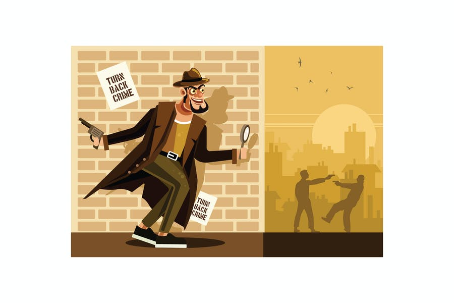 Detective Character Vector Graphics Illustration